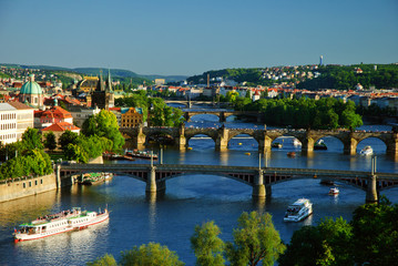 View of Charles Bridge in Prague from Letensky gardens.