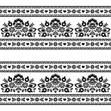 Seamless Polish black folk pattern with flowers on white - 64860700