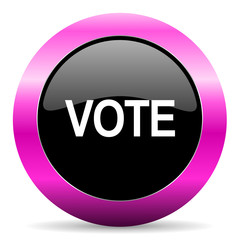 vote pink glossy icon