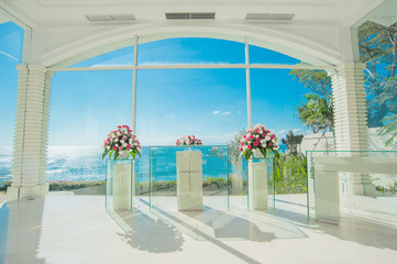 bali glass church wedding