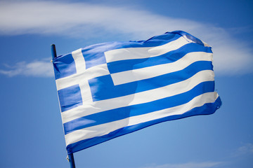 Greek flag in the blue sky