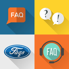 FAQs icons set flat design