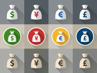 Money bag icon set with currency symbol