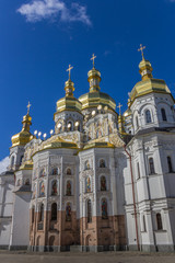 Cathedral with golden domes in the Kiev Pechersk Lavra