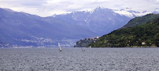 Lake Maggiore panorama color image
