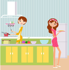 Two pretty girls cooking