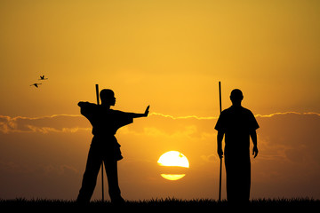 martial art at sunset