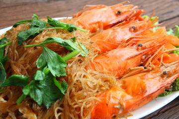 Shrimp vermicelli. Thai food