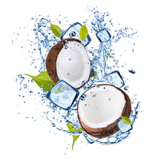 Ice coconut on white background