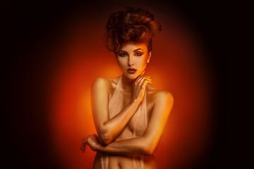 Horizontal portrait of sexy brunette with bandage