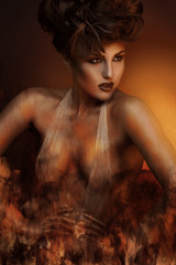 Creative photo of sexy adult brunette in bandage with fire