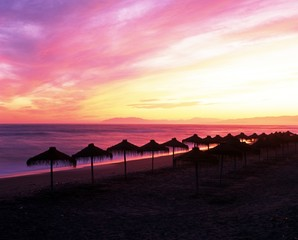 Beach at sunset, Torrox Costa, Spain © Arena Photo UK