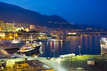 Monaco coastline at night