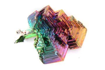bismuth (Bismuthum - Bi) color metal crystal