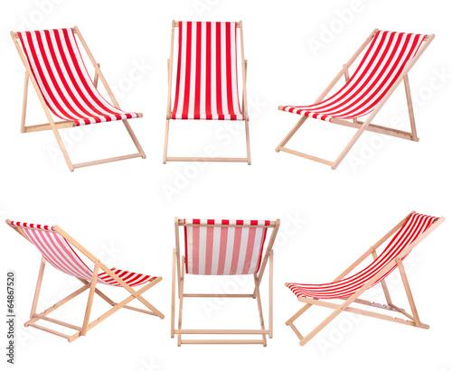 Leinwandbild Motiv Beach chairs isolated on white background