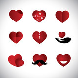 origami style heart icons collection set - concept vector graphi poster