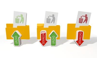three delete file transfer icons