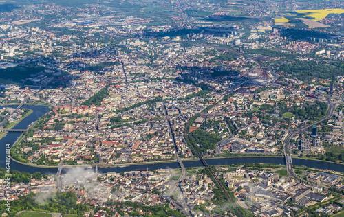 Panel Szklany aerial of Krakow