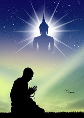 man who prays to the Buddha