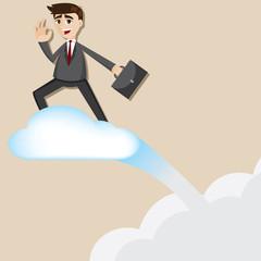 cartoon businessman riding flying cloud