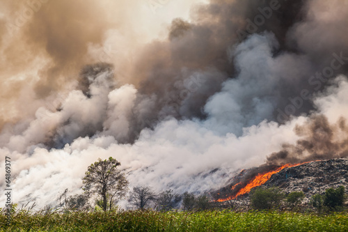 Foto op Canvas Rook Burning garbage heap of smoke
