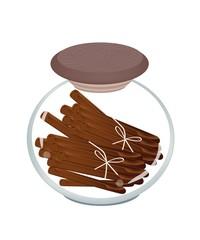 Jar of Cinnamon Sticks on White Background