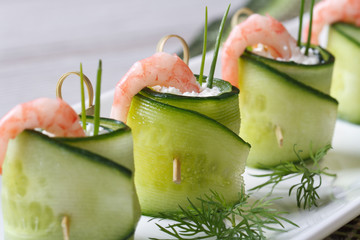 beautiful and useful cucumber rolls with shrimp and cheese
