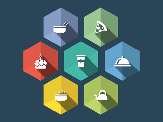 Flat design food icons with long shadow
