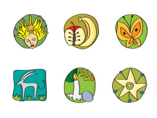 Collection of hand-drawn icons