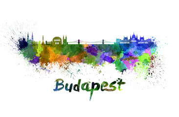 Budapest skyline in watercolor