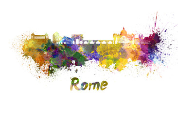 Rome skyline in watercolor