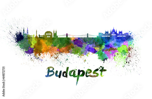 Poster Budapest skyline in watercolor