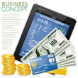 Financial Concept with Tablet PC, Dollars, Credit Cards and Coin