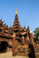 Shwe In Bin Kyaung is wooden teak monastery in Mandalay, Myanmar