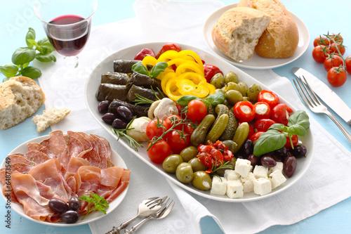 Leinwanddruck Bild Gourmet antipasto platter