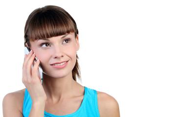девушка с белым телефоном в руке