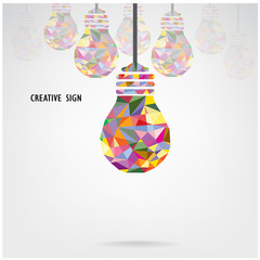 Creative light bulb concept background ,business idea ,abstract