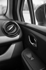 Car interior, car indoor, b&w