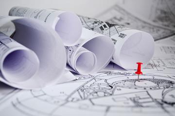 Architect rolls and plans blueprint