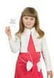 little girl  is holding a card on the white background