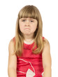 upset little girl on the white background