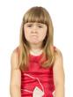 upset little girl on the white background