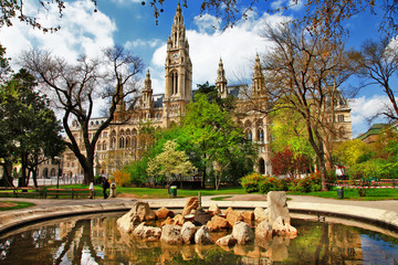 Viena, beautiful park near City hall. Austria