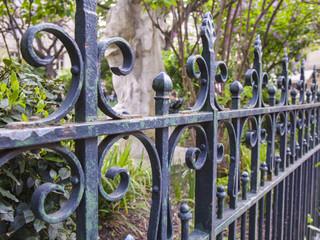 Paris, France. Detail of antique metal decorative fence