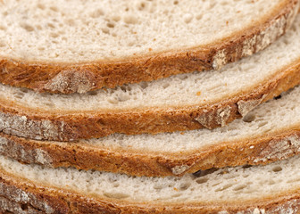 Close up of sliced bread.