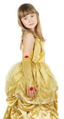 pretty little girl in princess costume on the white background