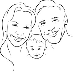 happy family - black outline illustration