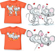 kid shirt with cute mouses in love printed - isolated on white