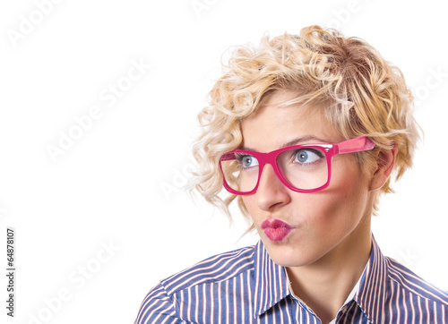 Close up of a  funny woman making face