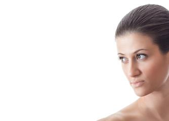 Sideways portrait of a young woman